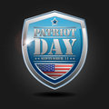 Patriot day september text and usa flag on blue shield Stock Image