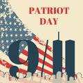 Patriot Day in USA square banner. Card with the American flag, the silhouette of the city and twin towers. Vector grunge