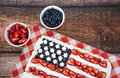 Patriotic American flag cake Royalty Free Stock Photo