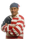 Patriotic American man wearing flag shirt Stock Images