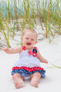 Patriotic Baby Girl at the Beach Royalty Free Stock Photo