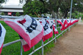 Patriotic banners on the th of july landscape Royalty Free Stock Photography