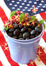 Patriotic Blueberries and Flag Royalty Free Stock Photography