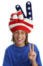 Patriotic Boy - Peace Sign Royalty Free Stock Photo