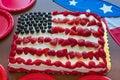 Patriotic flag cake and decor Royalty Free Stock Photo