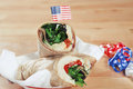 Patriotic Chicken Salad Wrap Sandwiches Stock Photography