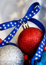 Patriotic christmas ornament ornaments with a blue star ribbon Stock Photo