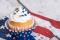 Patriotic cupcake with sprinkles Royalty Free Stock Photo