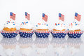 Patriotic cupcakes with American flags Royalty Free Stock Photo