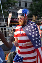 Patriotic fan photo of wearing the american flag at freedom plaza in washington dc during the world cup soccer game pitting Stock Photos