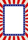Patriotic frame border with stars and red rays