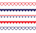 Patriotic heart borders red white and blue shaped Stock Images