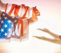 Patriotic holiday and happy family Royalty Free Stock Photo