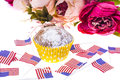 Patriotic holiday 4th of july: cupcakes with American flag. Royalty Free Stock Photo