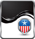 Patriotic icon on black checkered wave backdrop Stock Photos