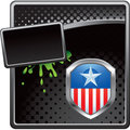 Patriotic icon on black halftone banner Stock Images