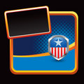 Patriotic icon on blue halftone stylized banner Stock Photography