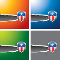 Patriotic icon on multicolored ripped banners Stock Photos