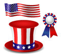 Patriotic item set containing hat flag and award Royalty Free Stock Images