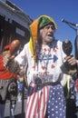 Patriotic jester marching in the Doo Dah Parade, Pasadena, California
