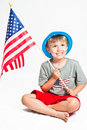 Patriotic little boy Royalty Free Stock Images