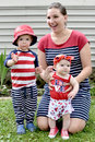 Patriotic Mom with Two Children Royalty Free Stock Photo