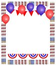 Patriotic pencil frame with stars and red white and blue colors Royalty Free Stock Photos