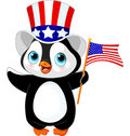 Patriotic penguin cute with us flag Royalty Free Stock Photos