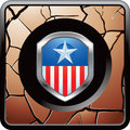 Patriotic pin on bronze cracked web button Stock Photo