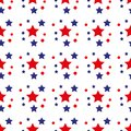 Patriotic seamless pattern with red, white, blue stars. . 4th of July. Wrapping paper. Royalty Free Stock Photo