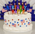 Patriotic 4th Of July Birthday Cake Royalty Free Stock Photo