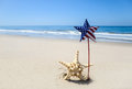 Patriotic USA background with starfish on the sandy beach Royalty Free Stock Photo