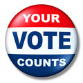 Patriotic vote button badge election politics Stock Photos