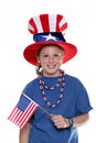 Patriotic Young Girl with Flag Stock Photo