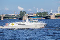 Patrol boat of the commander-in-chief of the Navy on rehearsal naval parade on the day of the Russian Fleet Royalty Free Stock Photo