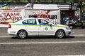 The patrol police car going down the street in kiev ukraine europe Stock Images