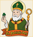 Patron Saint of Ireland: St. Patrick with Clover, Vector Illustration
