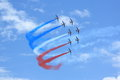 Patrouille de france with smoke the famous demo team in formation red white and blue french national colors Royalty Free Stock Photos