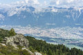Patscherkofel peak near innsbruck tyrol austria inn river valley as seen from mountain and ski area of in region south of in Stock Photo