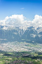 Patscherkofel peak near innsbruck tyrol austria inn river valley as seen from mountain and ski area of in region south of in Royalty Free Stock Photos