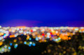 Pattaya cityscape at twilight time blurred photo bokeh Stock Images
