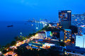 Pattaya night scene from high view Royalty Free Stock Images