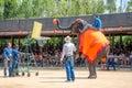 Pattaya, Thailand :  Elephant shoot Basketball show. Royalty Free Stock Photo