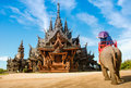 Pattaya, Thailand: Thai Temple Elephant Rides Royalty Free Stock Photo