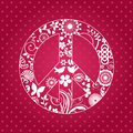 Patterened peace sign with funky elements and background pattern Royalty Free Stock Photos