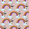 Seamless pattern with panda and rainbow - vector illustration, eps