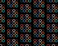 Pattern of abstract, colorful, bright, motley circles with hexahedrons inside painted in the most fashionable colors of 2018 on a
