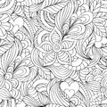 Pattern with abstract flowers,leaves and hearts Royalty Free Stock Photo