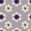 Pattern with abstract flowers in pastel and blue shades
