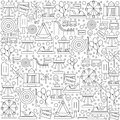 Pattern amusement park with icons on a white background.